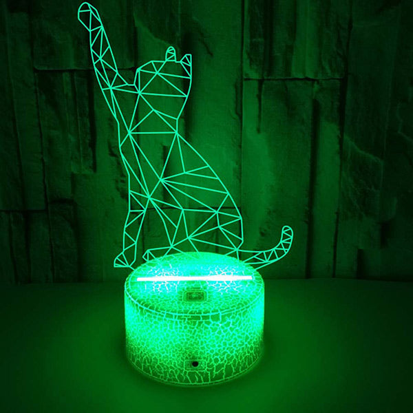3D Beckoning Cat Visual Illusion Lamp Cute Night Light