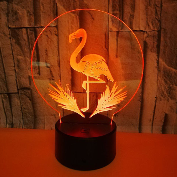 3D Flamingo Illusion Lamp 7 Colors Touch 3D Led Night Light