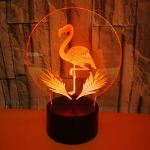 Load image into Gallery viewer, 3D Flamingo Illusion Lamp 7 Colors Touch 3D Led Night Light