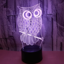 Load image into Gallery viewer, 3D Owl Illusion Lamp Led Night Light Gift