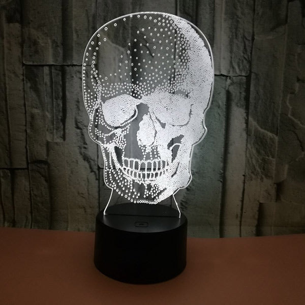 3D Skull Illusion Lamp Night Light Halloween Gift