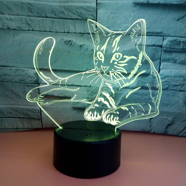 Cat 3D Illusion Night Light Bedroom Led Lamp Gift