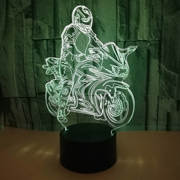 Creative Motorcycle 3D Illusion Lamp Bedroom Night Light