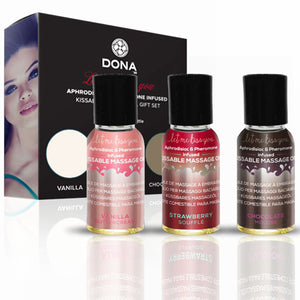 Dona Let Me Kiss You Massage Kit (Kissable) 3 X 1 fl oz / 3 X 30 ml