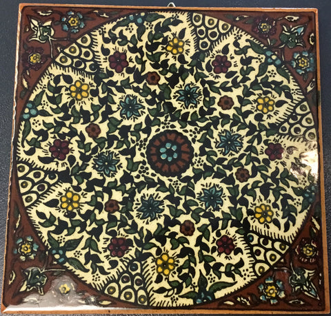 Brown Flower Circle Tile