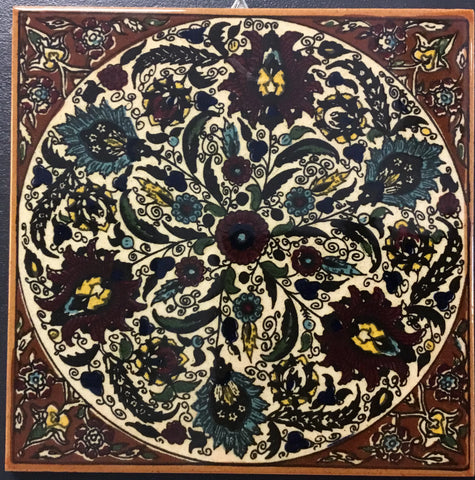 Brown Multicolor Flowers Tile