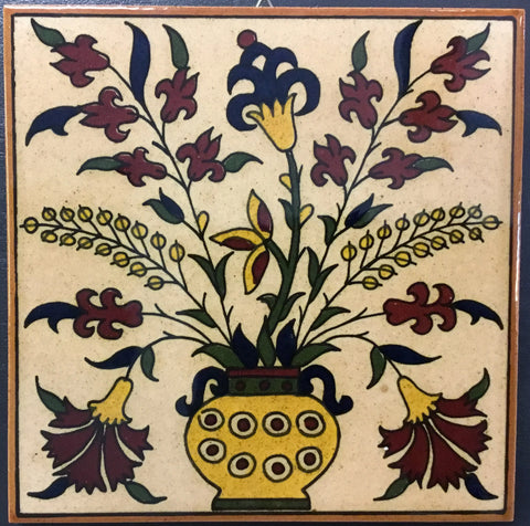 Flowers in Vase Tile (brown)