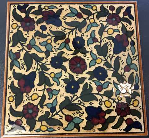 Brown Flowers Tile