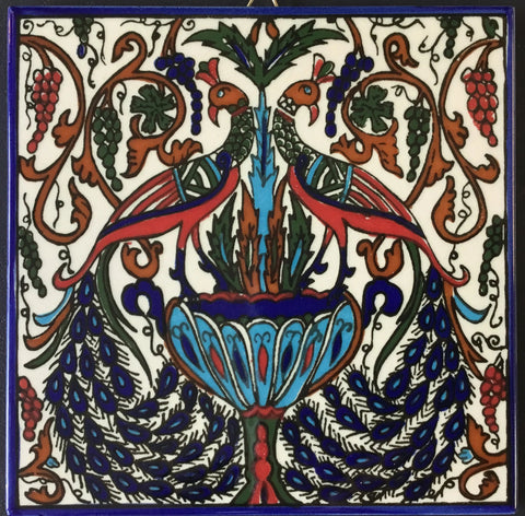 Fountain and Peacock Tile (blue)