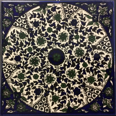 Circular Green Flowers Tile