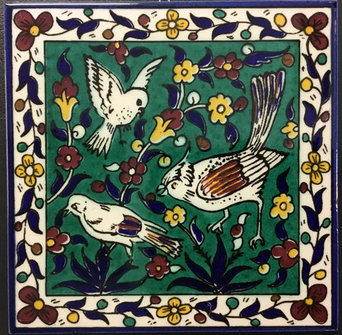 Green Birds Tile