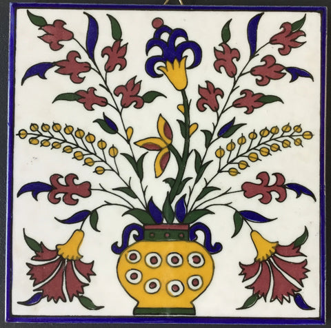 Flowers in Vase Tile (blue)
