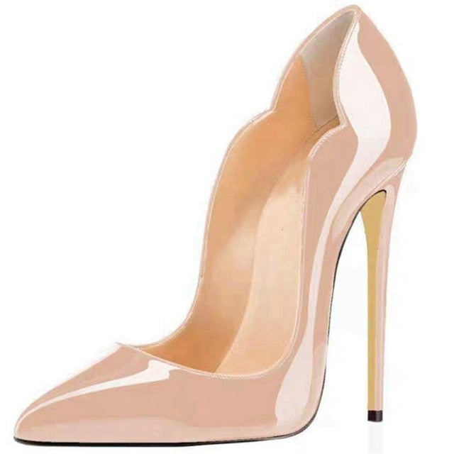 Details about  /Women OL Patent Leather High Heels Pull On Stilettos Pointed Toe Dating Shoes Sz