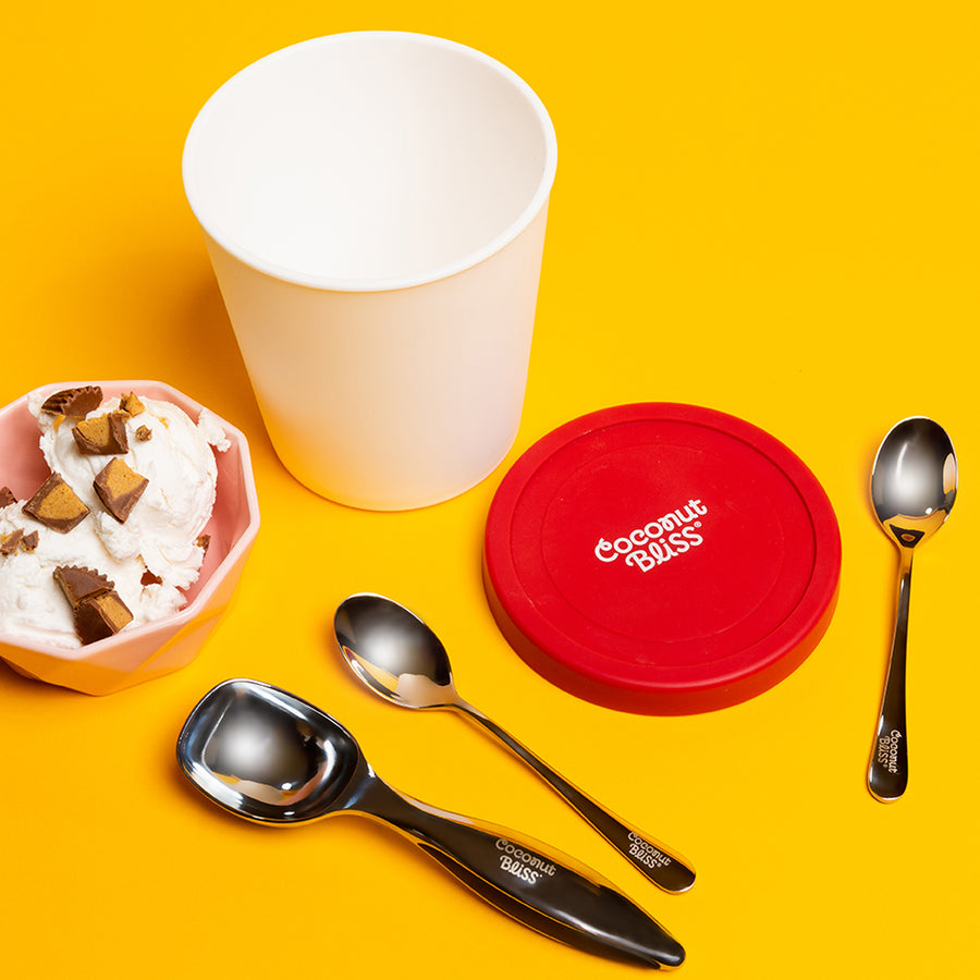Spoon, ice cream scoop and plastic pint container with bowl of vanilla ice cream.