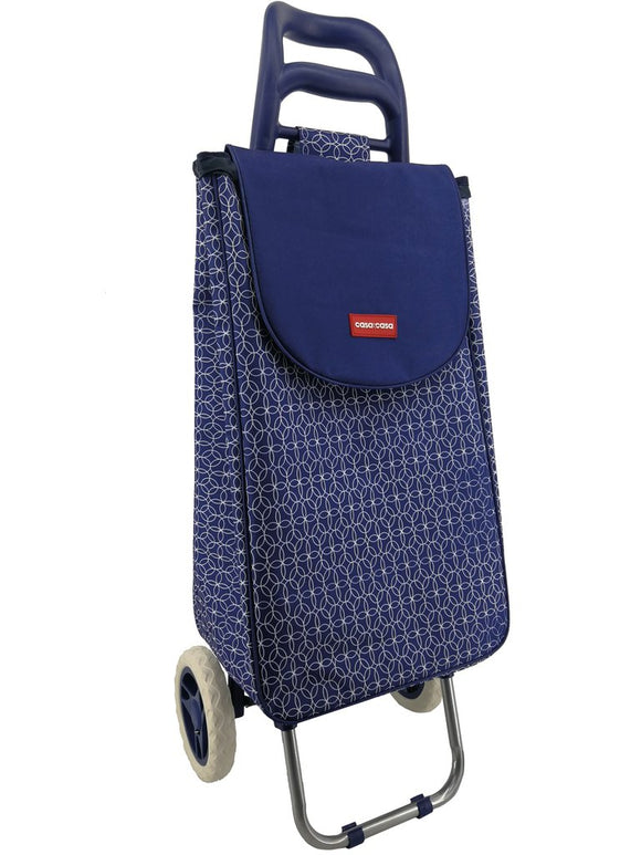 CASA & CASA 2 WHEEL SHOPPING TROLLEY NAVY GEOMETRIC