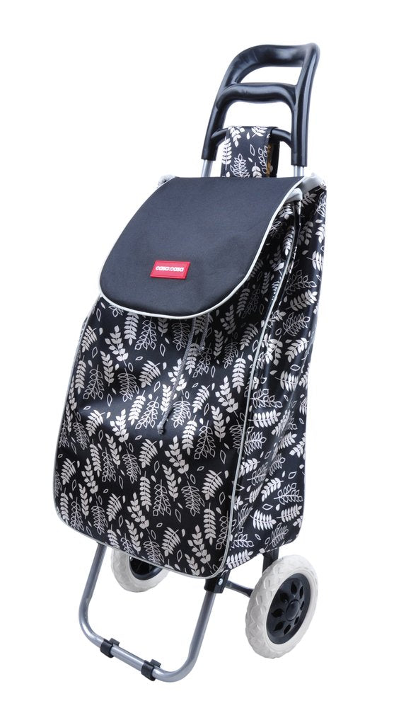 CASA & CASA SHOPPING TROLLEY BLACK LEAF DESIGN