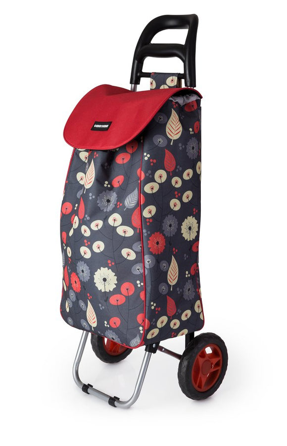 CASA & CASA SHOPPING TROLLEY BLACK & RED LEAF