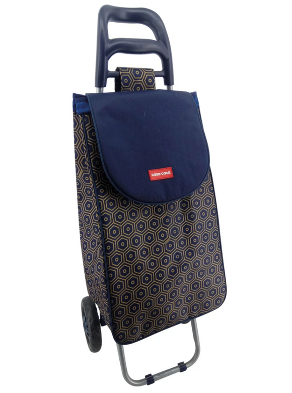 CASA & CASA 2 WHEEL SHOPPING TROLLEY NAVY HONEYCOMB