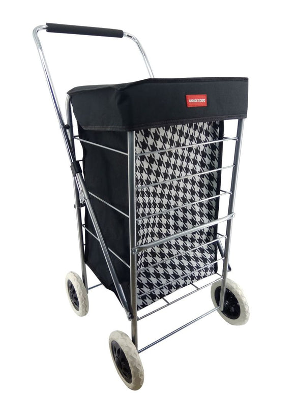 CASA & CASA 4 WHEEL SHOPPING TROLLEY BLACK & WHITE