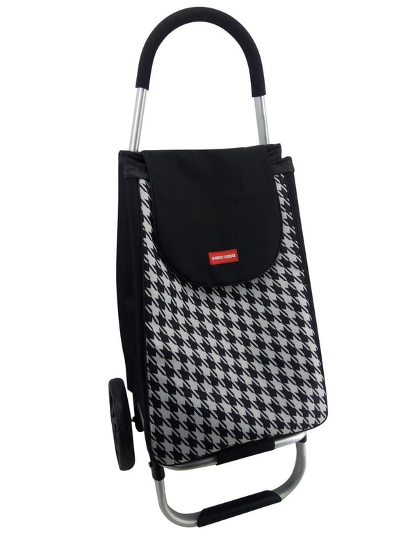 CASA & CASA SHOPPING TROLLEY ALUMINIUM BLACK & WHITE
