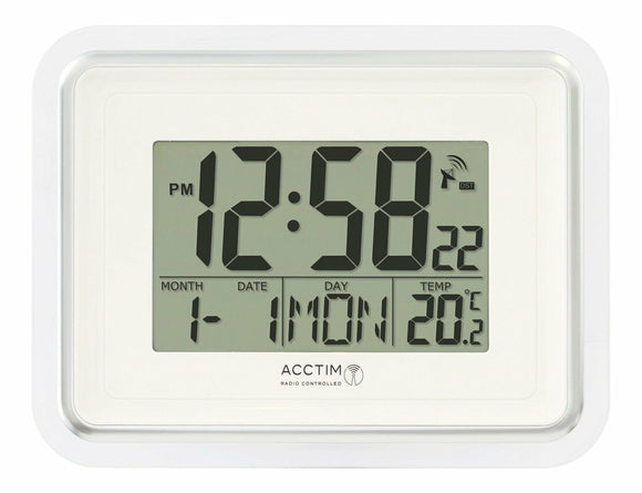 ACCTIM SILVER RADIO CONTROLLED LCD DELTA CLOCK