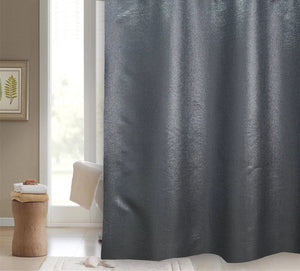 "BLUE CANYON BLACK GLITTER ""STARLIGHT"" POLYESTER SHOWER CURTAIN WITH HOOKS"