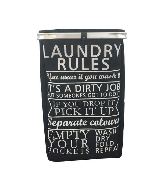 BLUE CANYON BLACK RULES LAUNDRY HAMPER