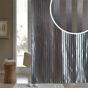 "BLUE CANYON BLACK ""SATIN STRIPE"" POLYESTER SHOWER CURTAIN WITH HOOKS"