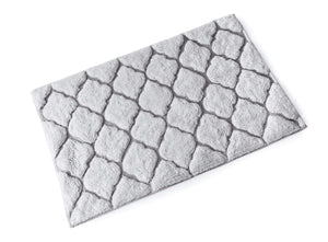 BLUE CANYON WHITE/SILVER MOROCCAN BATH MAT