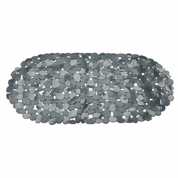 BLUE CANYON BLACK PEBBLE OBLONG NON-SLIP BATH MAT
