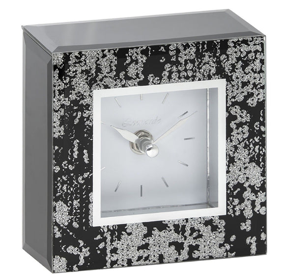SQUARE GLITTER SILVER MIRRORED CLOCK