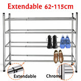 HOMEKIND 4 TIER EXTENDABLE CHROME SHOE & BOOT RACK