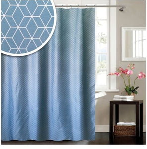 "BLUE CANYON TEAL ""GEOMETRIC"" POLYESTER SHOWER CURTAIN WITH HOOKS"
