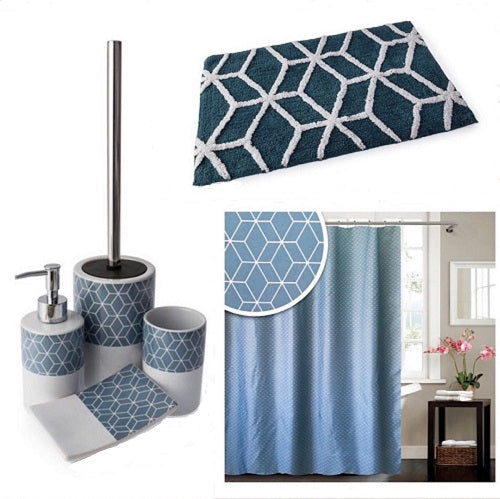 BLUE CANYON GEOMETRIC BATHROOM ACCESSORY SET