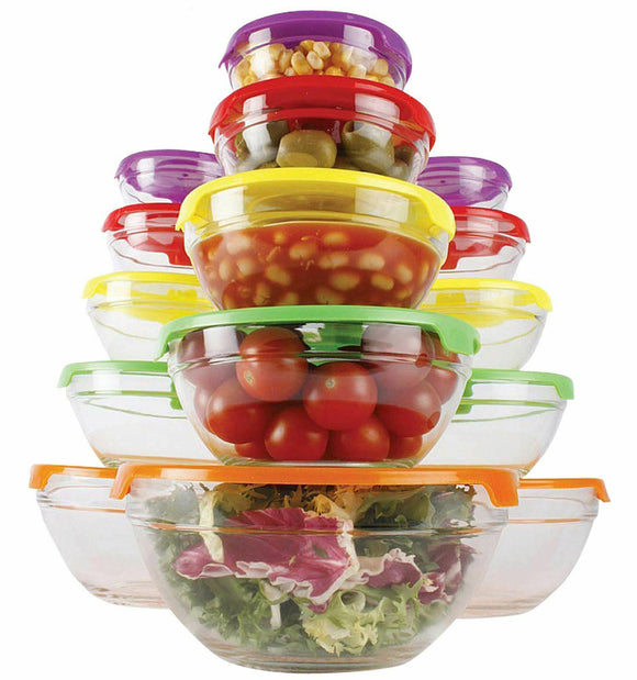 5PC STACKABLE GLASS STORAGE BOWLS