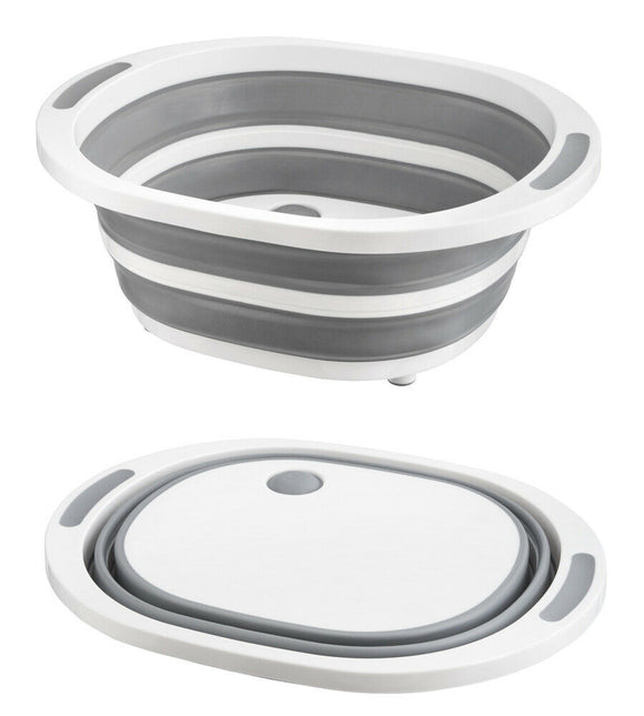 GREY SILICONE COLLAPSIBLE BASIN