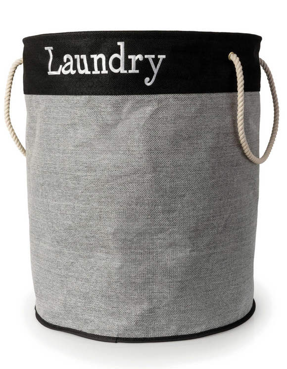BLUE CANYON GREY LINEN LAUNDRY HAMPER