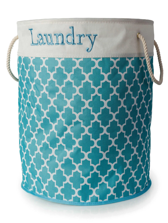 BLUE CANYON TEAL ROUND LAUNDRY HAMPER