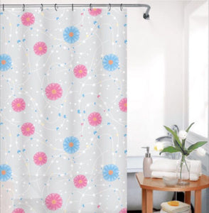 "BLUE CANYON WHITE ""MULTI FLOWER"" PEVA SHOWER CURTAIN WITH HOOKS"
