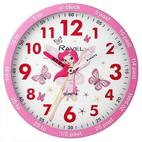 RAVEL 25CM PINK FAIRY TEACHING CLOCK