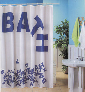 "BLUE CANYON WHITE/BLUE ""BATH"" POLYESTER SHOWER CURTAIN WITH HOOKS"