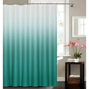 "BLUE OMBRE ""OCEANIC"" POLYESTER SHOWER CURTAIN WITH HOOKS"