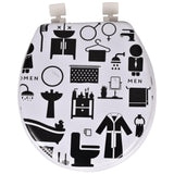 BLACK AND WHITE PATTERN CUSHIONED TOILET SEAT