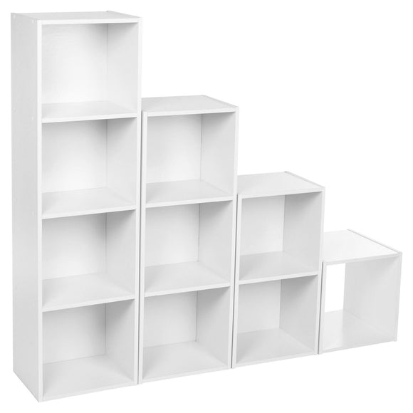 HOMEKIND WHITE 1 / 2 / 3 / 4 TIER CUBE BOOKSHELF STORAGE SHELVING BOOKCASEUNIT