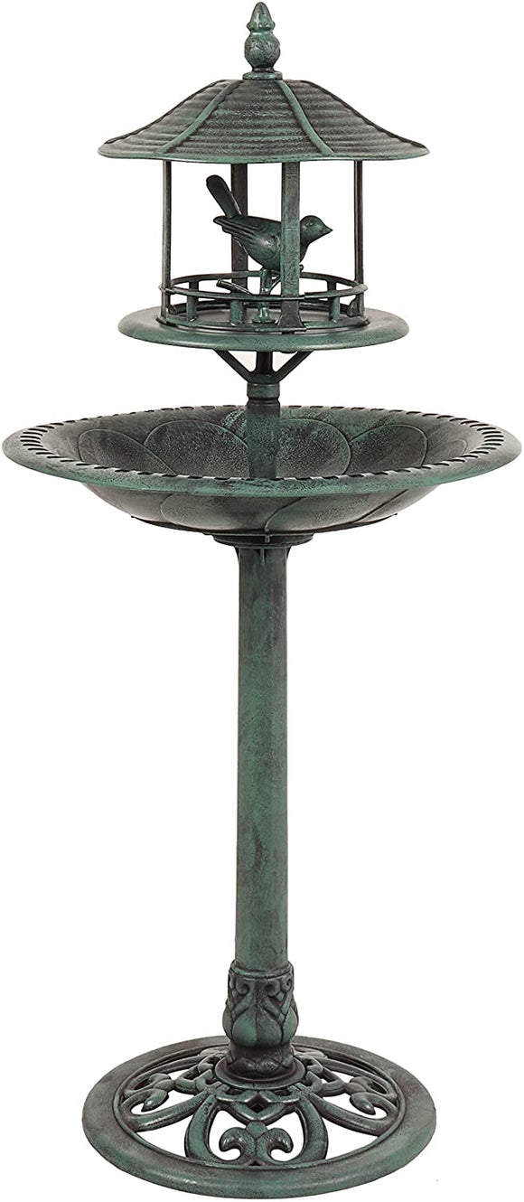 KINGFISHER ORNAMENTAL BIRD BATH WITH SHELTER