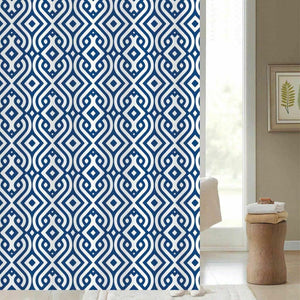 "BLUE CANYON WHITE / BLUE ""ARTISAN"" POLYESTER SHOWER CURTAIN WITH HOOKS"