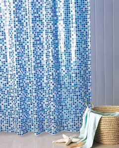 "BLUE CANYON WHITE/BLUE ""MOSAIC"" PEVA SHOWER CURTAIN WITH HOOKS"