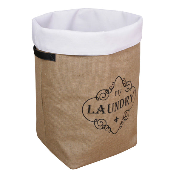 BLUE CANYON JUTE HESSAIN LAUNDRY HAMPER