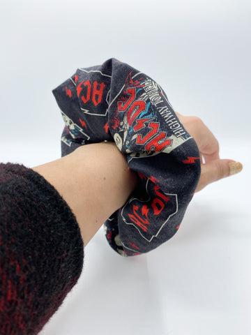 Oversized ACDC Scrunchie ACDC Hair Tie