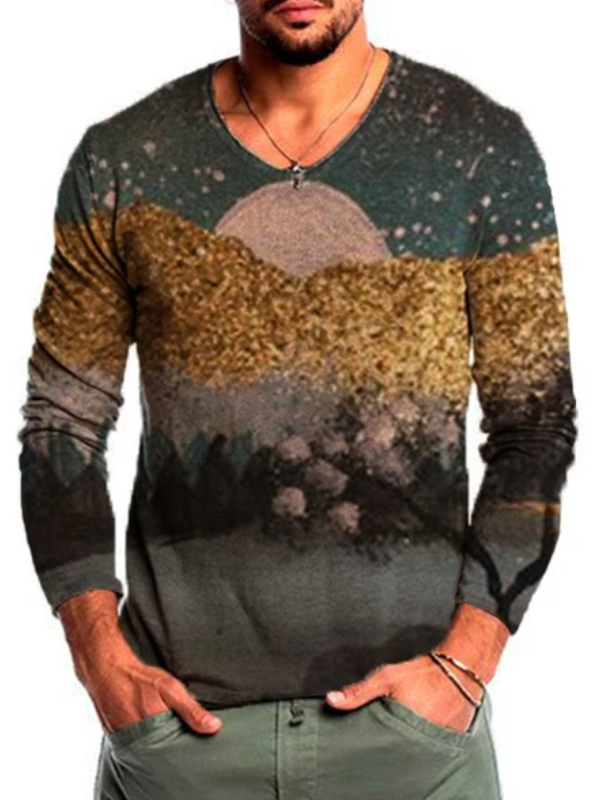 Men's Art Mountain Print Casual Long Sleeve T-shirt